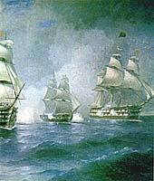 buttle of &quot Merkuriy&quot  with Turkish ships